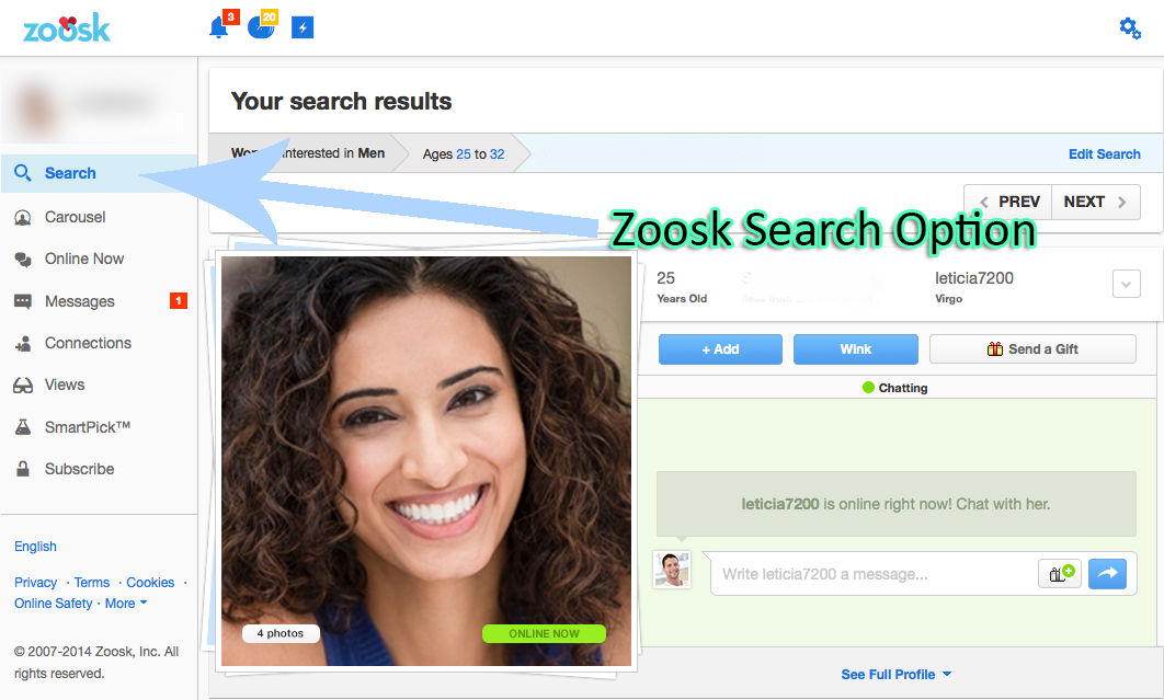 How To Use The Zoosk Search Option